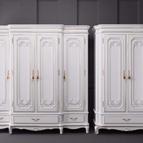 欧式实木衣柜组合3D模型【ID:928559900】