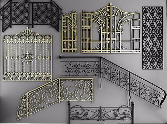 樓梯扶手鐵藝欄桿鐵藝雕花3D模型【ID:728312914】