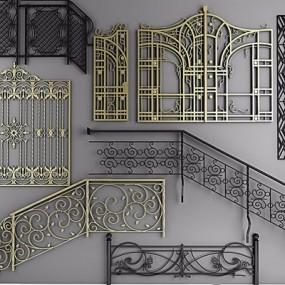 楼梯扶手铁艺栏杆铁艺雕花3D模型【ID:728312914】