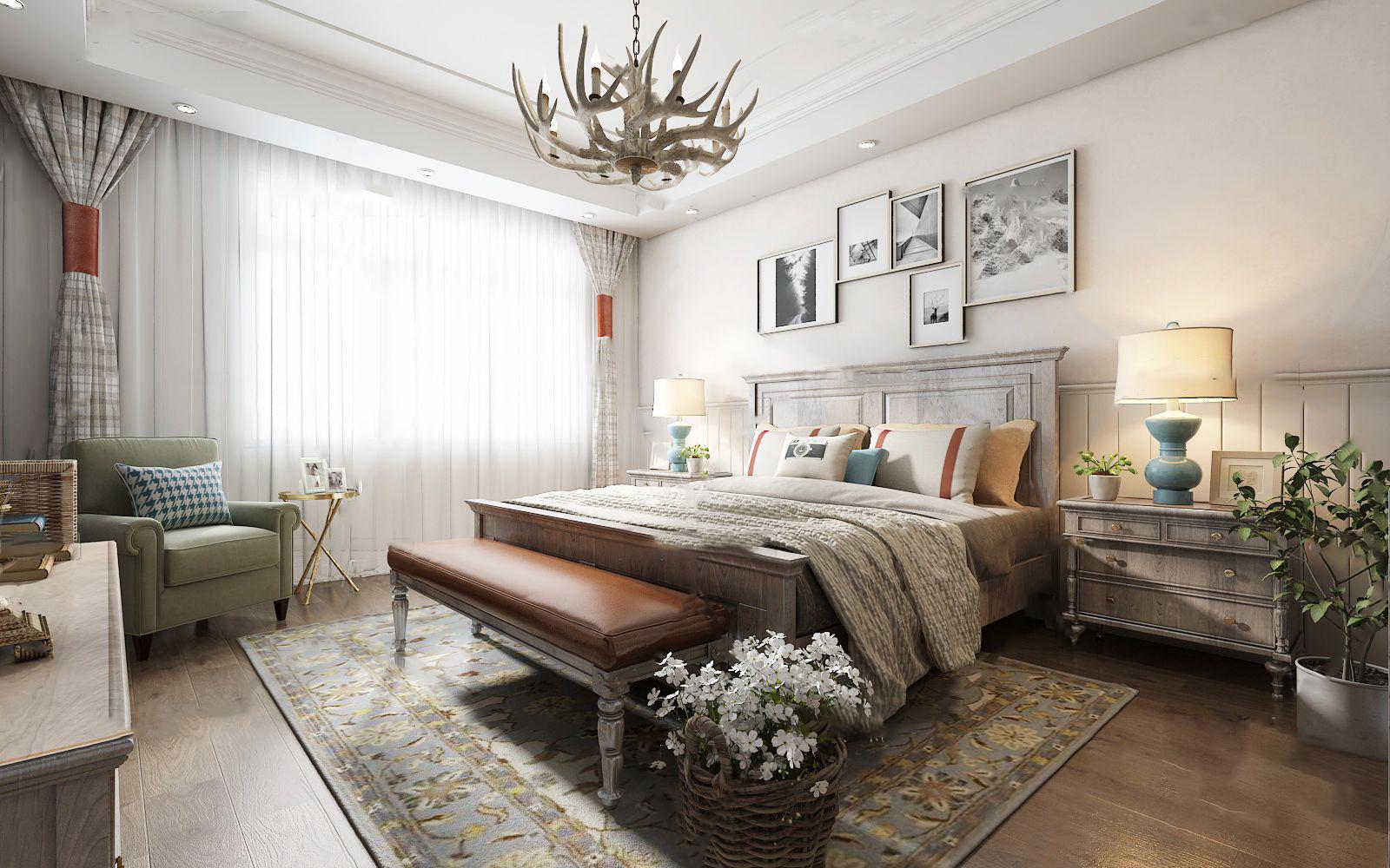 美式乡村卧室3D模型【ID:543427032】