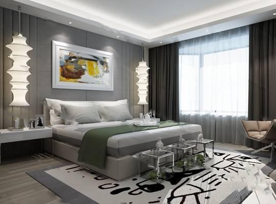 现代卧室3D模型【ID:419624305】