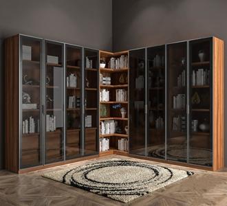 现代玻璃门书柜3D模型【ID:134737569】