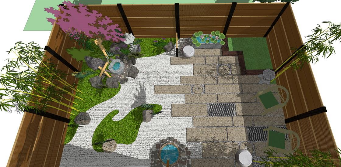 日式庭院景觀SU模型【ID:536391994】