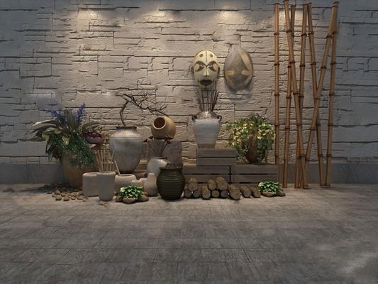 中式园艺小品3D模型【ID:124887877】