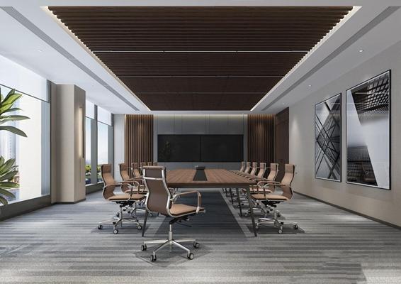 现代会议室3D模型【ID:728314815】
