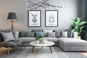 北歐轉角沙發茶幾燈具組合3D模型【ID:127754007】