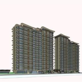 现代中式高层住宅SU模型【ID:245466758】