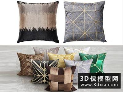 艺术装饰枕头抱枕模型国外3D模型【ID:329346894】