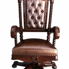 美式皮质扶手单椅3D模型【ID:227887998】