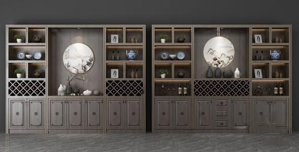 新中式酒柜3D模型【ID:636239210】