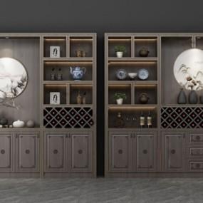 新中式酒柜 3D模型【ID:641547275】