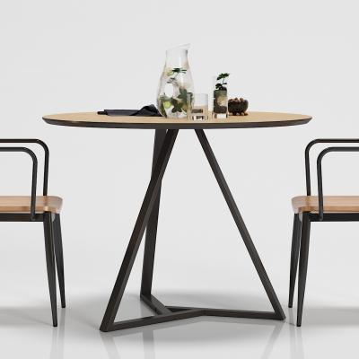 工业风铁艺休闲桌椅组合摆件3D模型【ID:327793671】