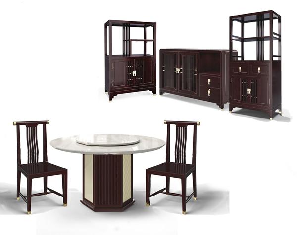 新中式實木餐桌椅餐邊柜3D模型【ID:847856855】