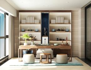 新中式實木桌椅組合書柜裝飾柜擺件3D模型【ID:327786677】