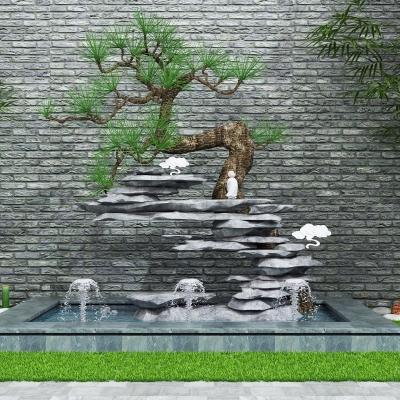 现代园林小品假山水景3D模型【ID:128403800】