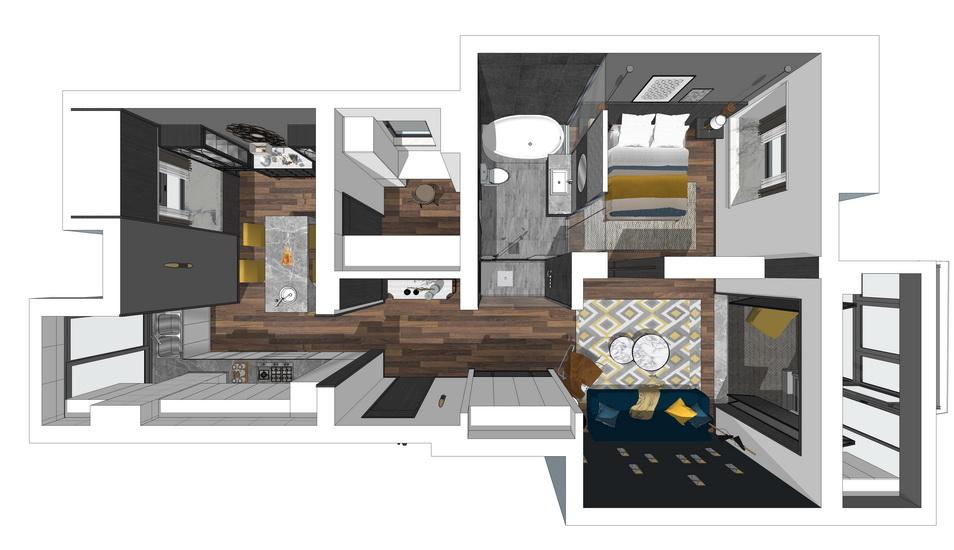 現代風格單身公寓室內設計SU模型【ID:236392741】