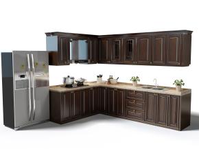 美式橱柜冰箱摆件组合3D模型【ID:727808320】