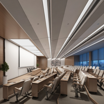 现代阶梯报告厅演讲厅会议室3D模型【ID:527803230】