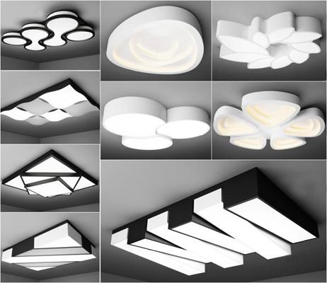 現代藝術吸頂燈組合3D模型【ID:628044024】
