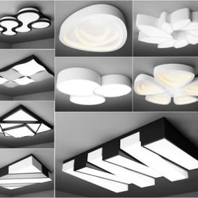 现代艺术吸顶灯组合3D模型【ID:628044024】