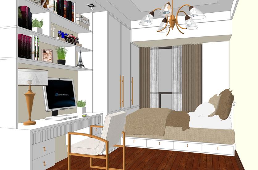 现代风格儿童房室内设计SU模型【ID:736392652】