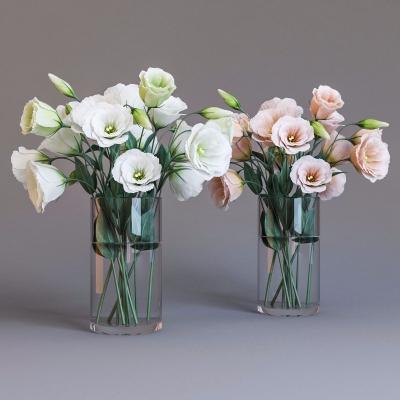 现代玻璃花瓶花卉3D模型【ID:328437863】