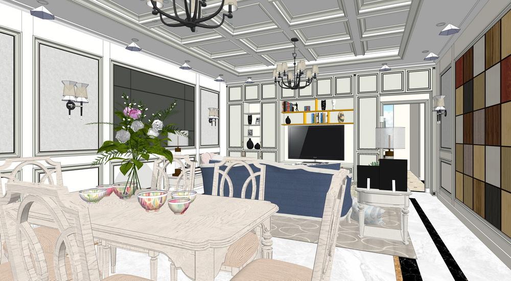 美式客厅餐厅室内设计SU模型【ID:936392878】