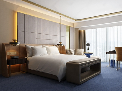 上海绿地铂瑞现代酒店客房3D模型【ID:420797611】