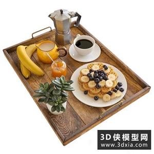 早餐食物模型組合國外3D模型【ID:929459532】