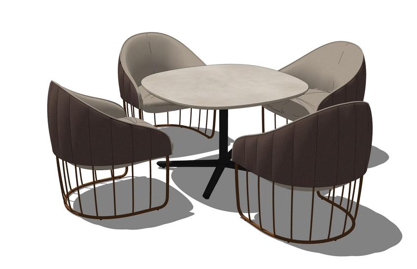 办公洽谈桌椅组合SU模型【ID:736393501】