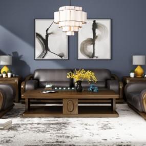 新中式实木皮革沙发茶几边几台灯吊灯组合3D模型【ID:127768071】