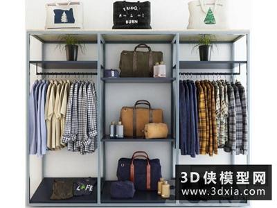 衣服衣柜組合國外3D模型【ID:929347658】