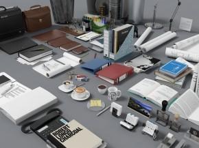 现代文件包笔记本图纸电话办公用品组合3D模型【ID:927822654】