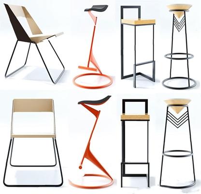 现代吧椅单椅3D模型【ID:327927122】