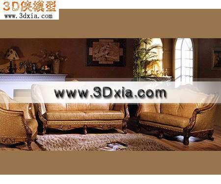 欧式沙发-高档真皮沙发3D模型【ID:6032】