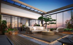 新中式阳台花园景观3D模型【ID:927818932】