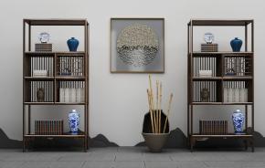 中式實木博古架書籍器皿擺件組合3D模型【ID:927822288】