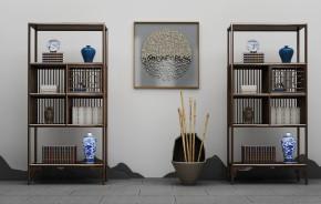 中式实木博古架书籍器皿摆件组合3D模型【ID:927822288】