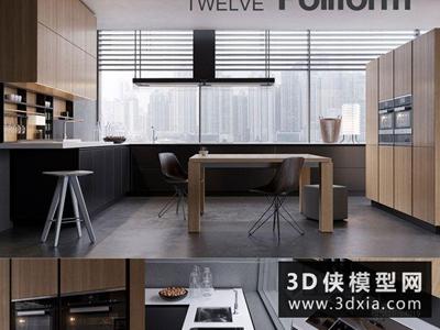 现代厨柜国外3D模型【ID:829358079】