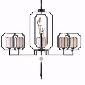 新中式金屬多頭吊燈3d模型【ID:745862823】