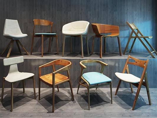 新中式木质休闲椅餐椅3D模型【ID:227878443】