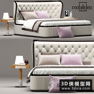 现代风格床国外3D模型【ID:729306995】