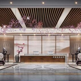 新中式大厅3D模型【ID:427990268】
