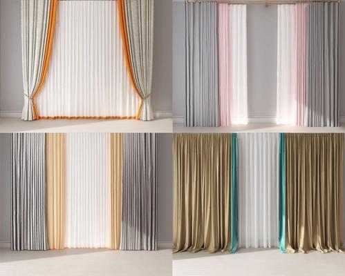現代窗簾組合3D模型【ID:328245853】