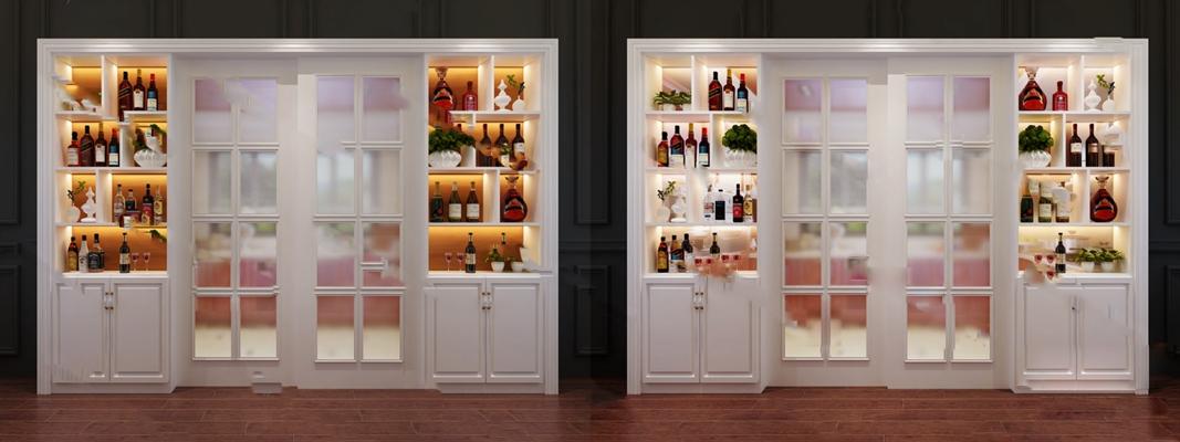 现代酒柜3D模型【ID:924881061】