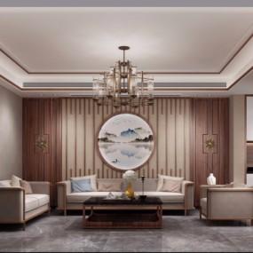 新中式客厅餐厅3D模型【ID:128414234】
