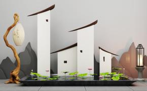 新中式荷花池落地灯组合3D模型【ID:127750892】