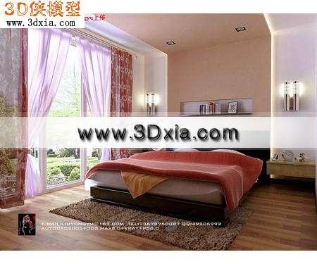 现代床-精致的双人床3D模型【ID:6104】