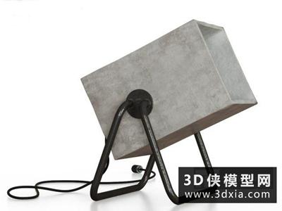 现代水泥台灯国外3D模型【ID:829576970】