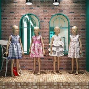 儿童服装精品厨窗模特3D模型【ID:427938291】